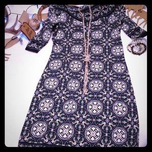 Max Studio Blue Medallion Boatneck Dress